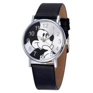 Mickey egér mintás fekete szíjas karóra