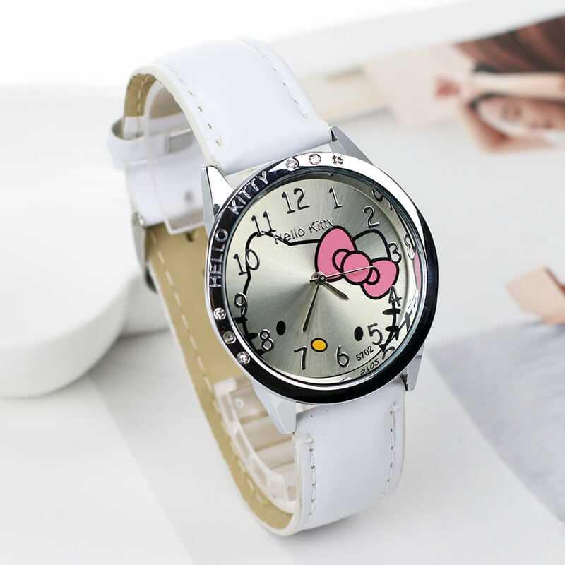 Hello Kitty mintás fehér bőrszíjas lány karóra  2480442001