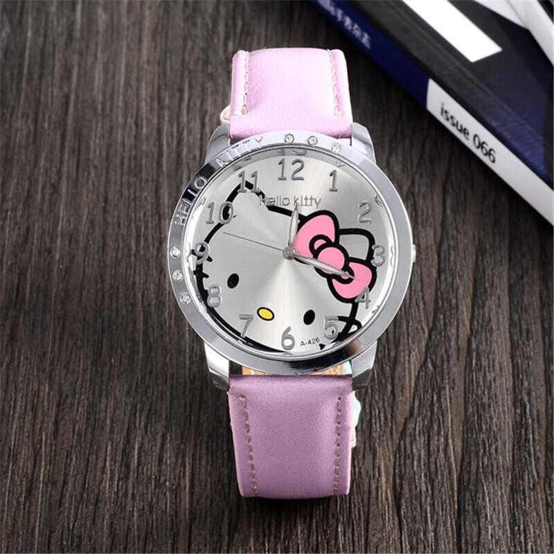 Hello Kitty mintás rózsaszín bőrszíjas lány karóra  102d076605
