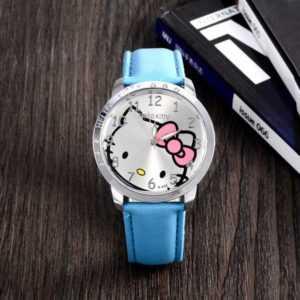 Hello Kitty mintás kék bőrszíjas lány karóra