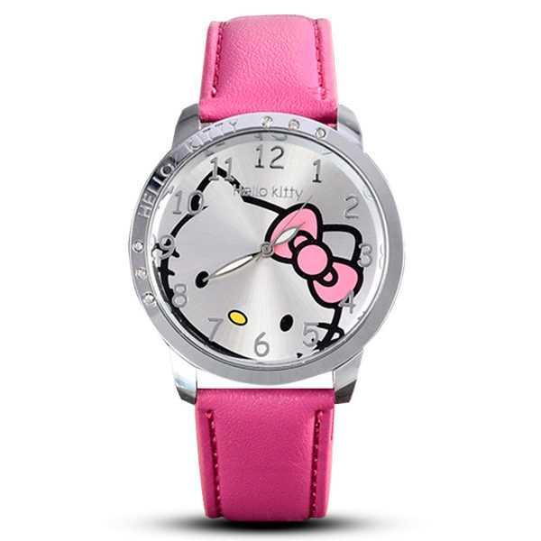 Hello Kitty mintás rózsaszín bőrszíjas lány karóra