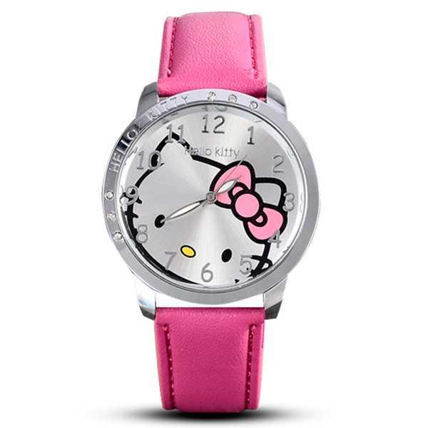 Hello Kitty mintás magenta bőrszíjas lány karóra  2edb855b7e