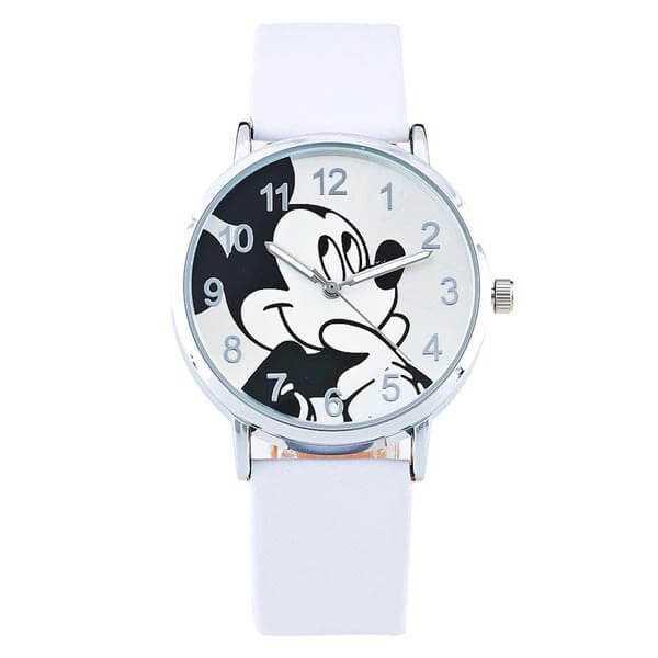 Mickey egér mintás karóra fehér szíjjal