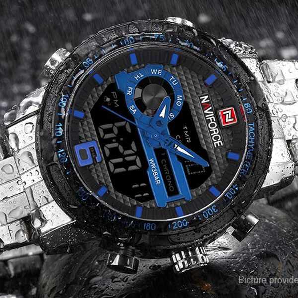 Naviforce vagány sportos LCD kijelzős kék fekete férfi karóra