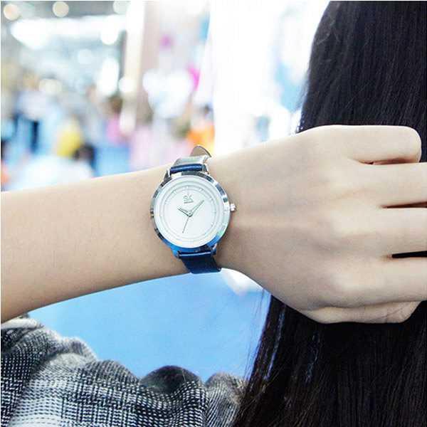 Shengke bűbájos kék szíjas női karóra