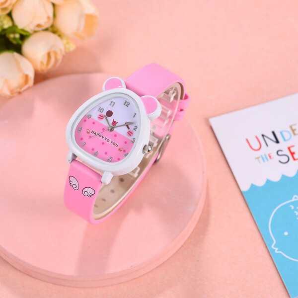Cuki figurás rózsaszín lány karóra  0b72e93e1a