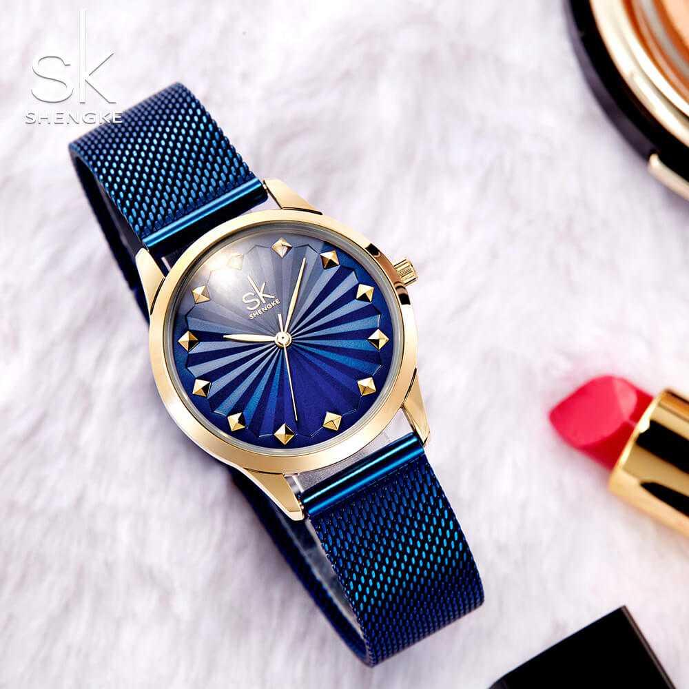 Shengke feltűnő kék-arany színű női karóra  dc2667d3b1