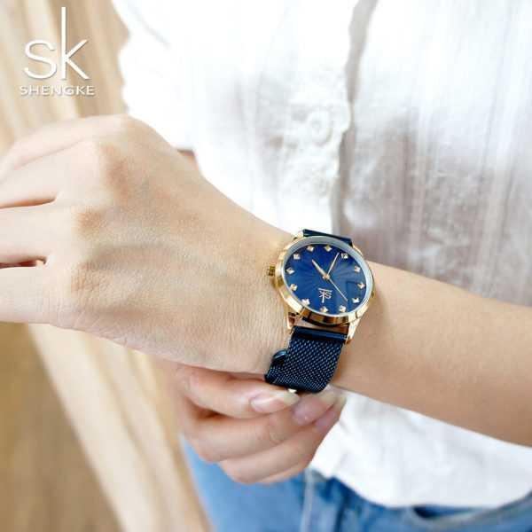 Shengke feltűnő kék-arany színű női karóra