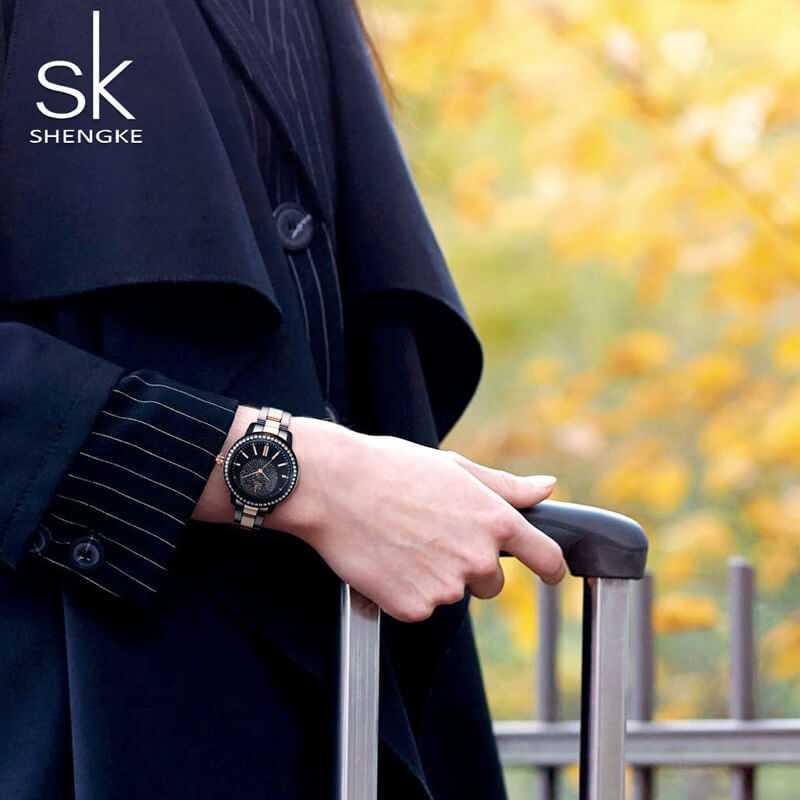 Shengke ragyogó fekete színű köves női karóra | Óra Zóna