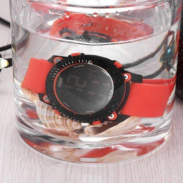Ohsen sportos piros szíjas vízálló unisex karóra