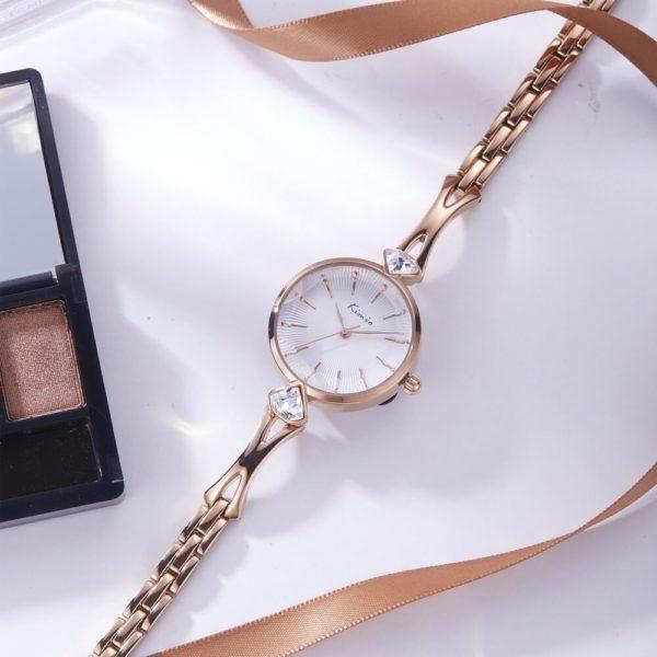 Kimio elegáns köves arany fehér színű női karóra