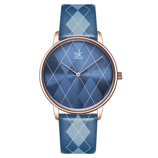 Shengke elegáns kék káró mintás női karóra