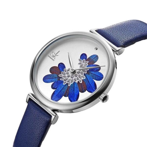 Shengke csodaszép toll mintás kék női karóra